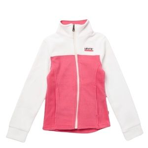 LEVI'S Girl's Pink White Fleece Zip Up Jacket Size S(4-5 YRS) NEW, NWOT